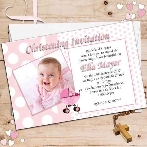 10 Personalised Christening Baptism Photo Invitations N7